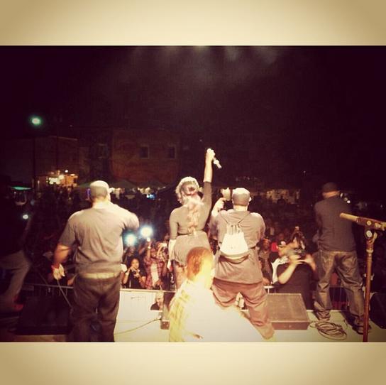 Backstage shot of Da Mafia on stage